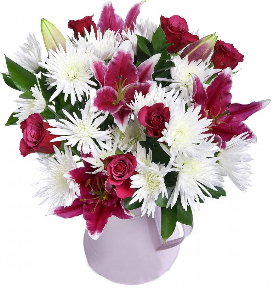 Букет сенполия, цветной букет из лилии и хризантемы
